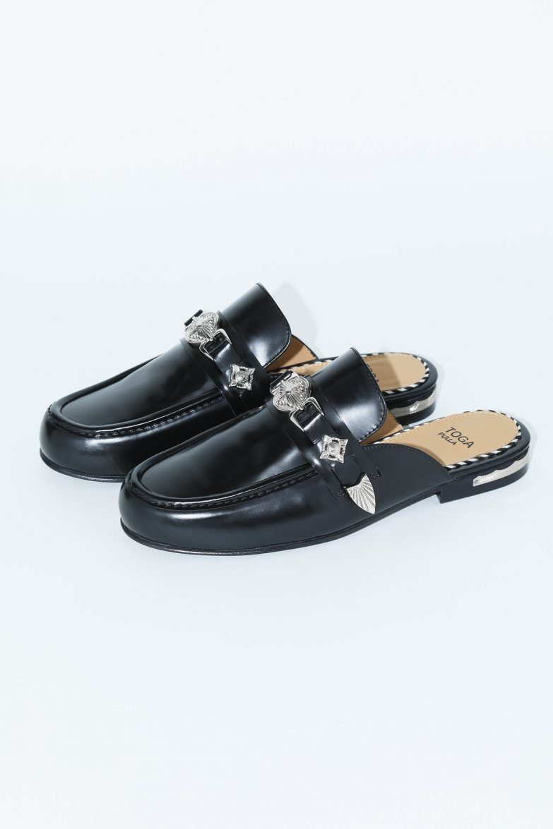 Toga Pulla Embossed-Coin Mules Side