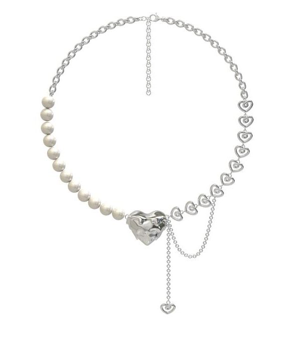 OOPS! Pearl heart Necklace Product Photo