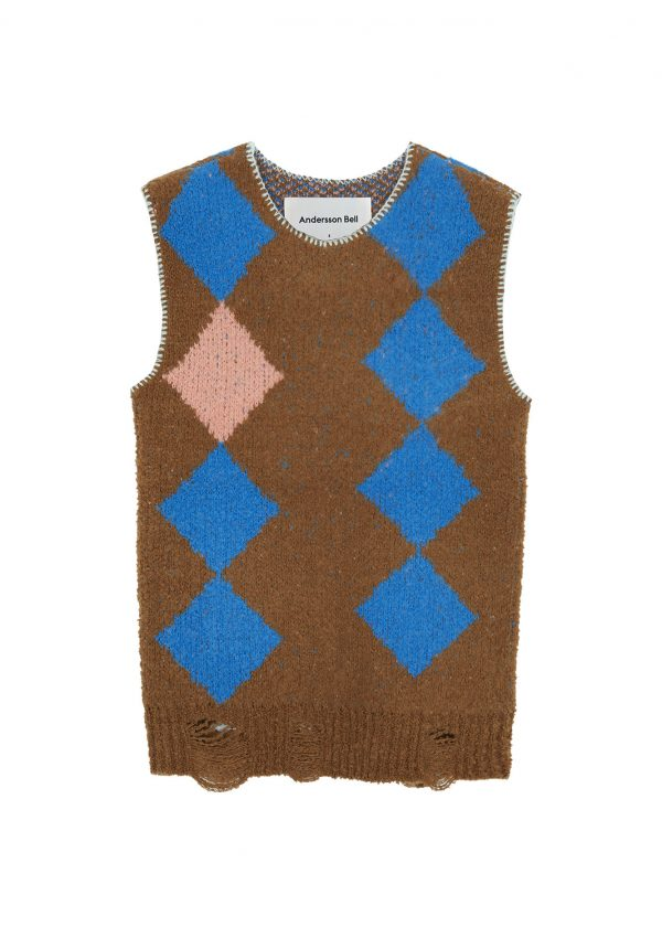 Andersson Bell Daria Diamond Knit Vest Front