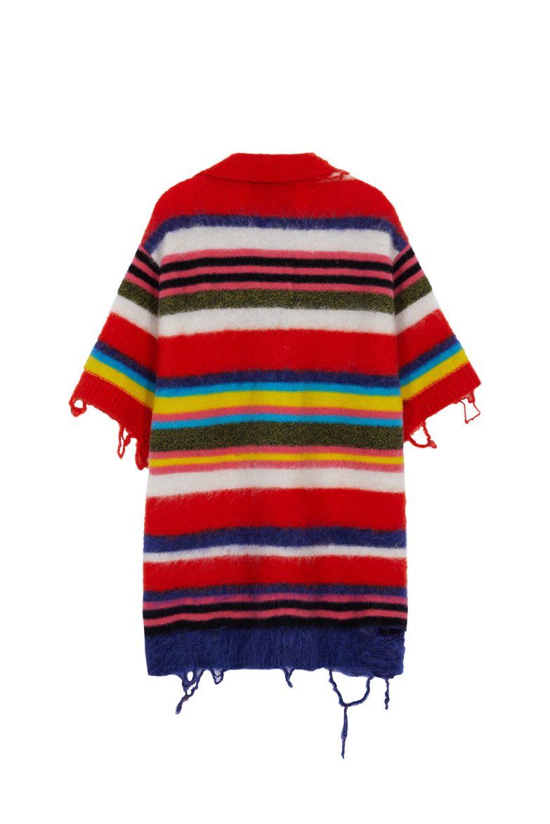 Andersson Bell Multi Striped Knit Polo Sweater Back
