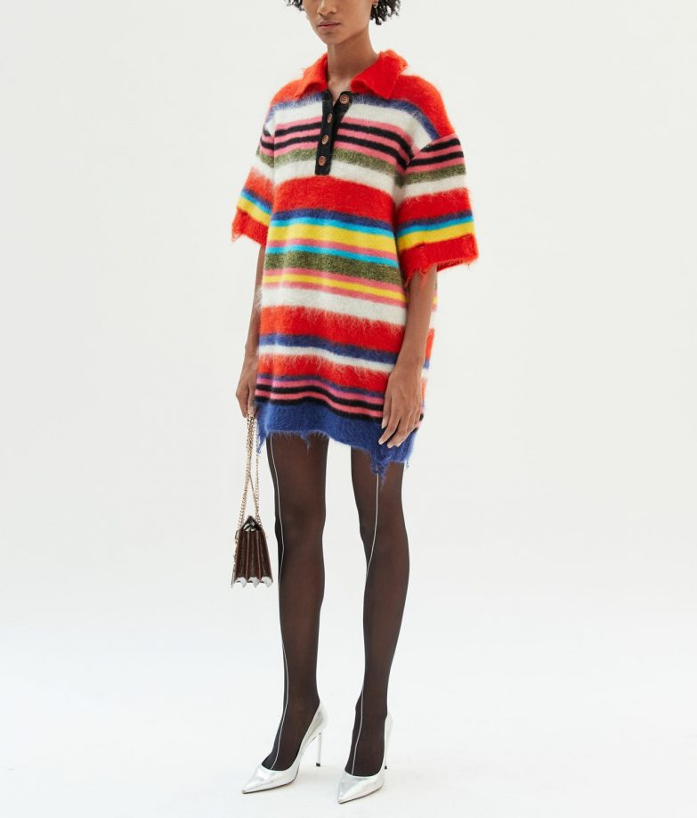 Andersson Bell Multi Striped Knit Polo Sweater Outfit On Model