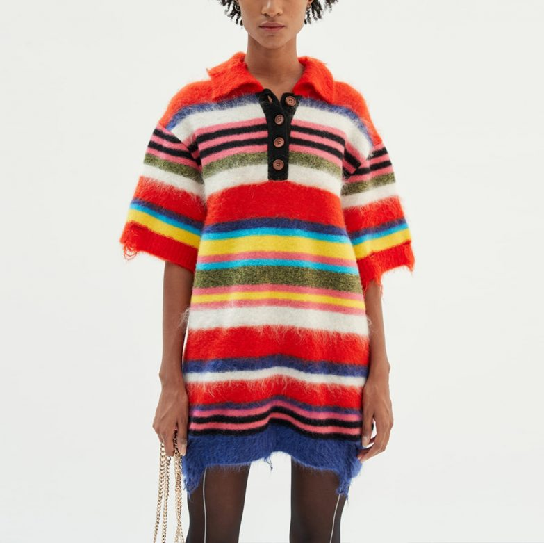 Andersson Bell Multi Striped Knit Polo Sweater On Model