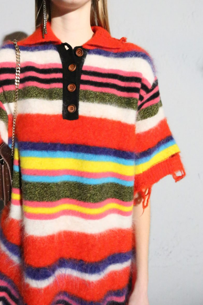 Andersson Bell Multi Striped Knit Polo Sweater Detail Shot