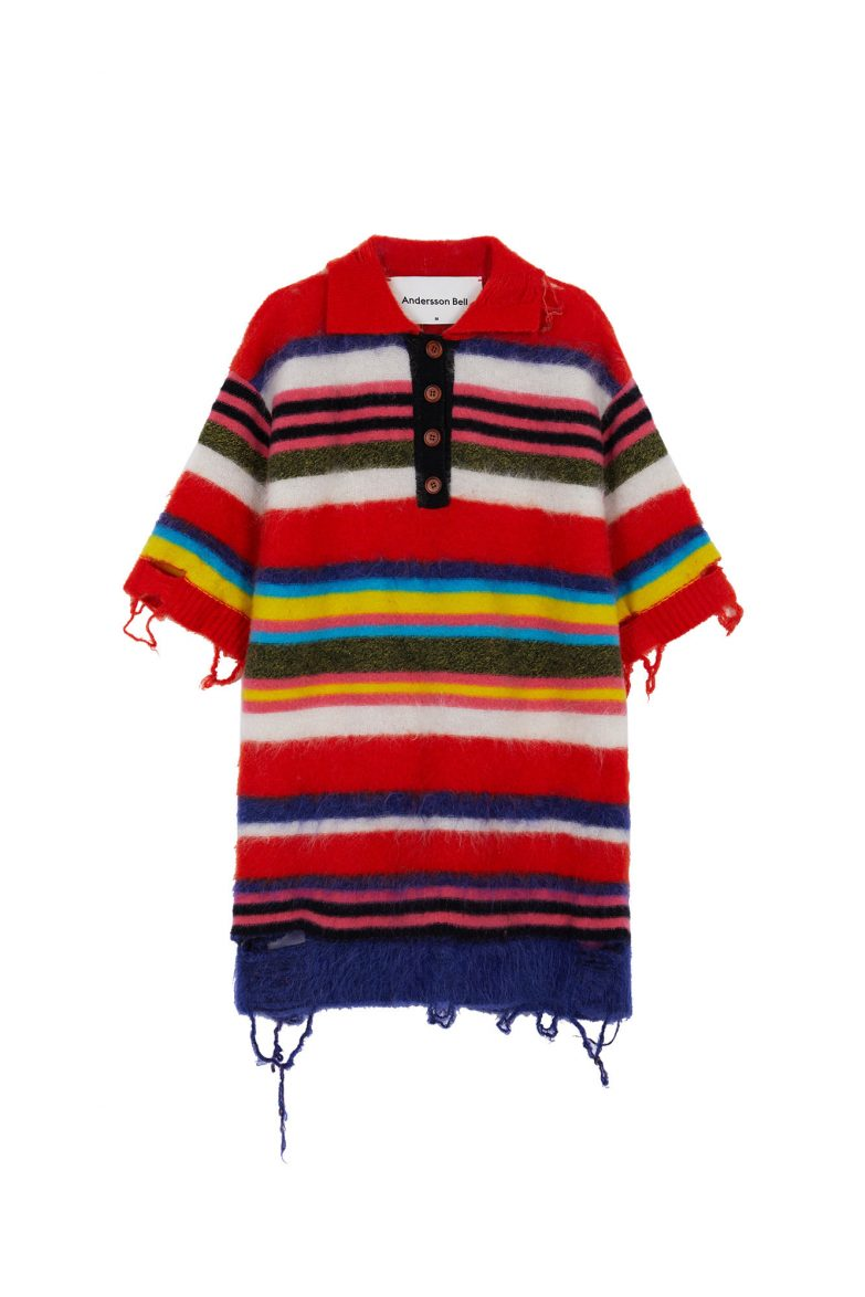 Andersson Bell Multi Striped Knit Polo Sweater Front