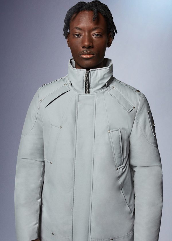 Moose Knuckles Waterton Parka In Iceberg Front Detail Zipped